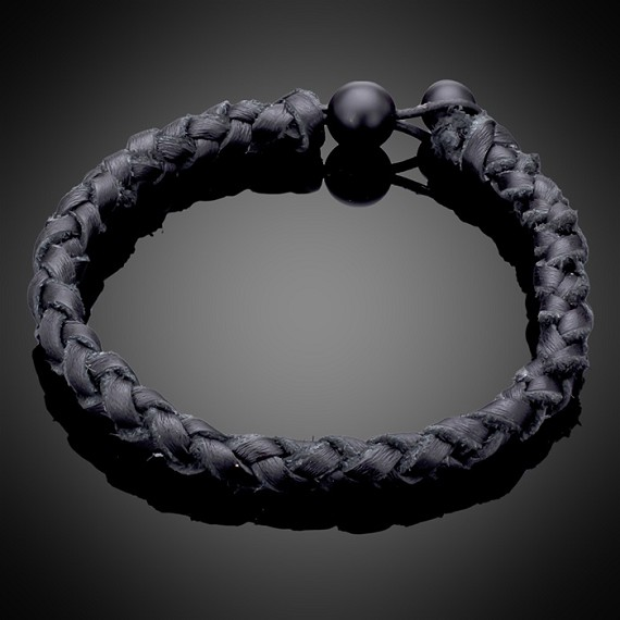 Woven Leather Bracelet with Onyx