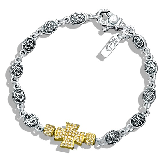 Silver Crown Link & White Diamond Cross Bracelet