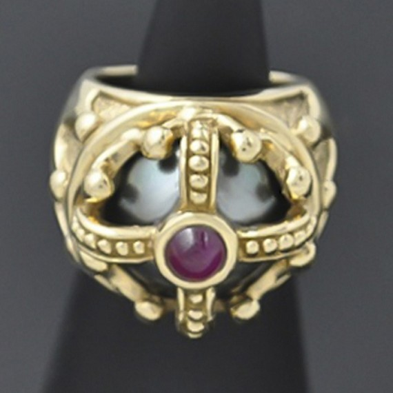 Crown Ruby & South Sea Pearl Ring