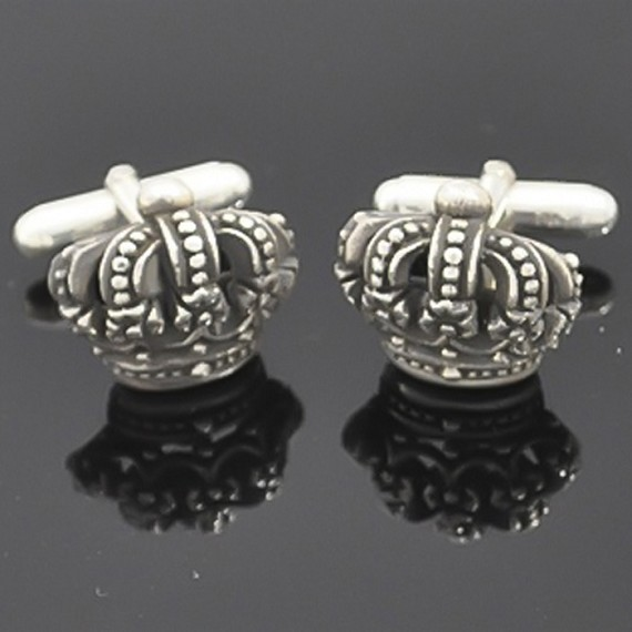 Silver Full Crown Cufflinks