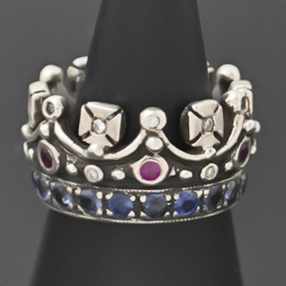 Silver Crown Ring with Sapphire, Ruby & Diamond