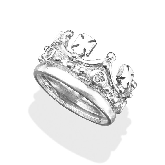 14KT White Gold Crown Ring