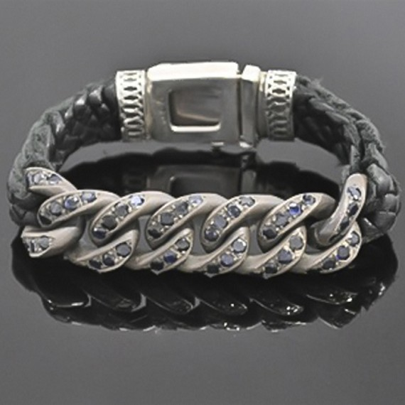 Silver Cuban Link Bracelet with Leather & Sapphires