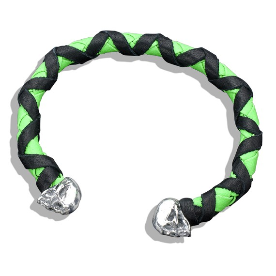 Black Wrapped On Green Braided Leather & Silver Skull Cuff
