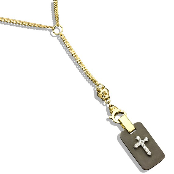 Bicolor Gold Chain With 14K Gold Cross Dog Tag