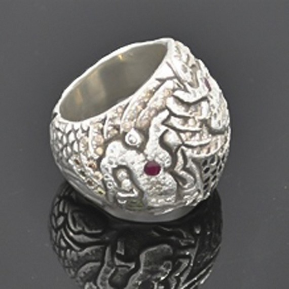 Silver, Diamond & Ruby Dragon Ring