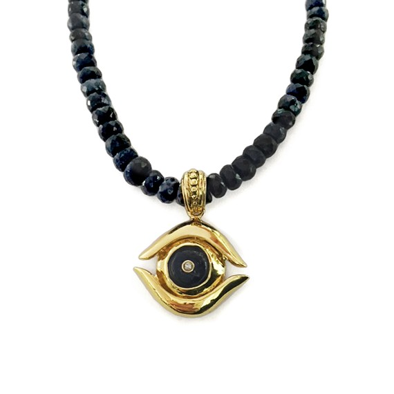 Gold sapphire evil eye mens necklace aloadofball Image collections