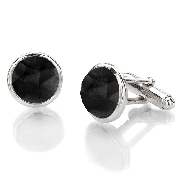 Round Faceted Black Agate & Silver Cufflink