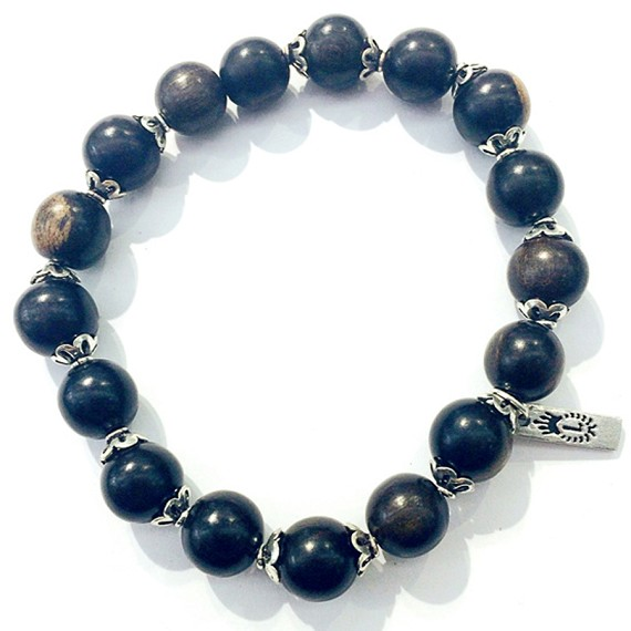 10mm Wooden bead & Silver Bracelet