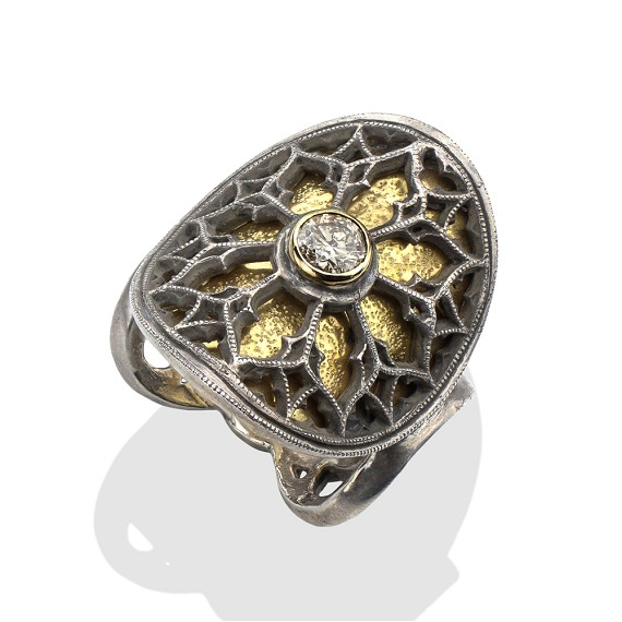 18Kt Gold, Silver & Champagne Diamond Church Window Ring