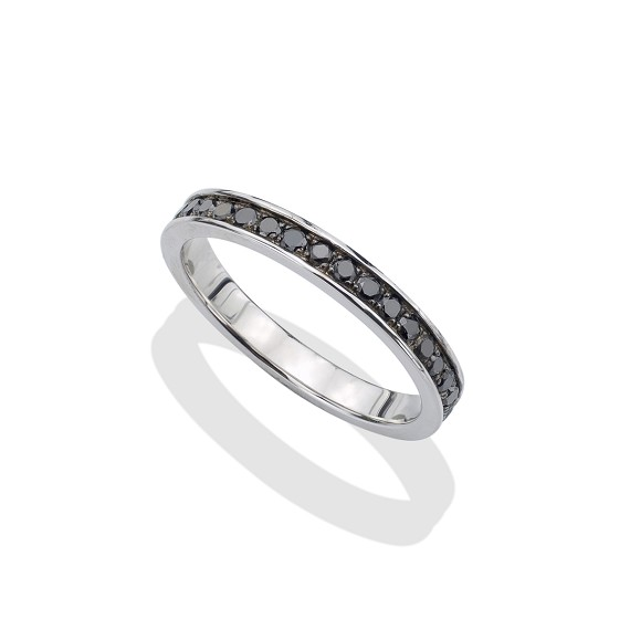 Black Diamond & Silver Men's Eternity Ring