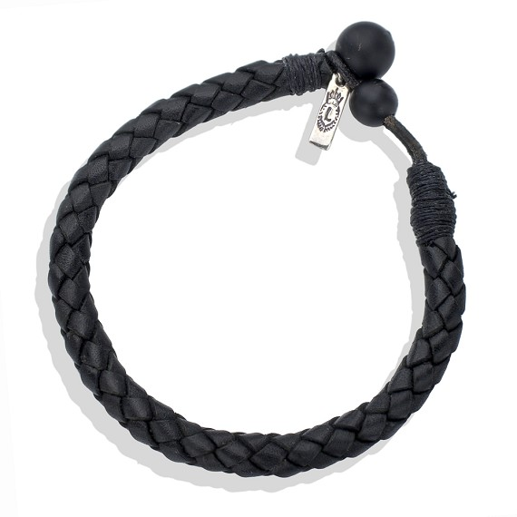 Black Onyx Braided Leather Bracelet