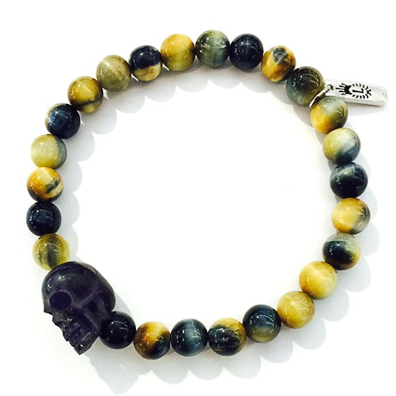 Carved Jet Skull & 8mm Tiger's Eye Bracelet