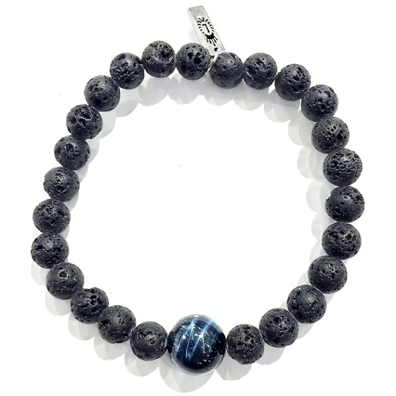 Limited Edition Blue Tiger's Eye & Lava Bead Bracelet