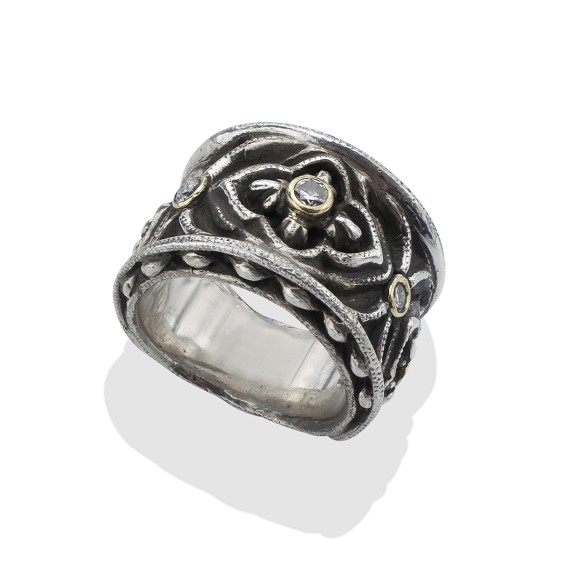 Men's Diamond Gothic Biker Ring