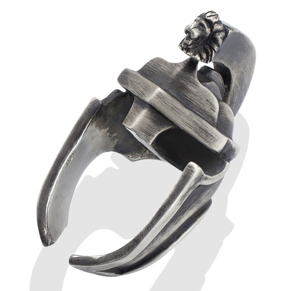 Men's Silver Spartan Helmet Ring