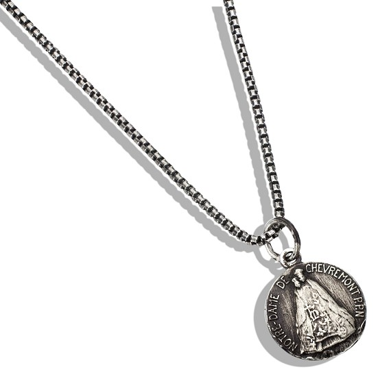 "Religious Medal Pendant on 23"" Silver Box Chain"
