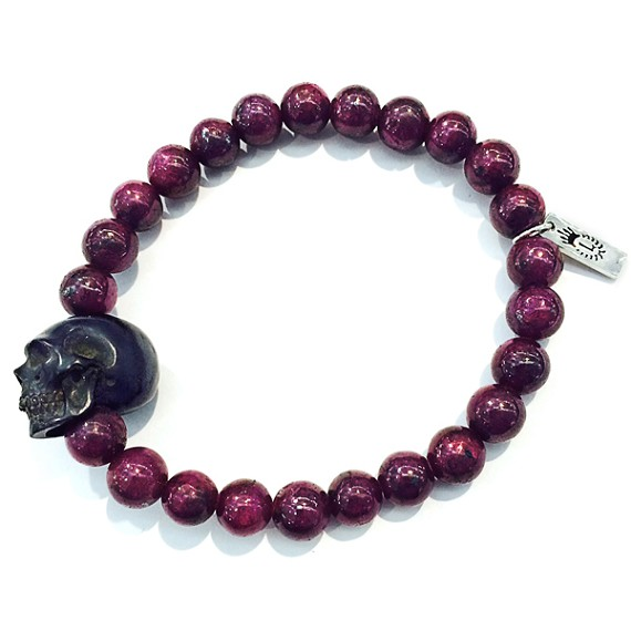 Ruby & Carved Jet Skull Bracelet
