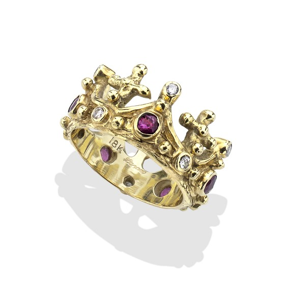 Ruby & Diamond 18Kt Gold Crown Ring