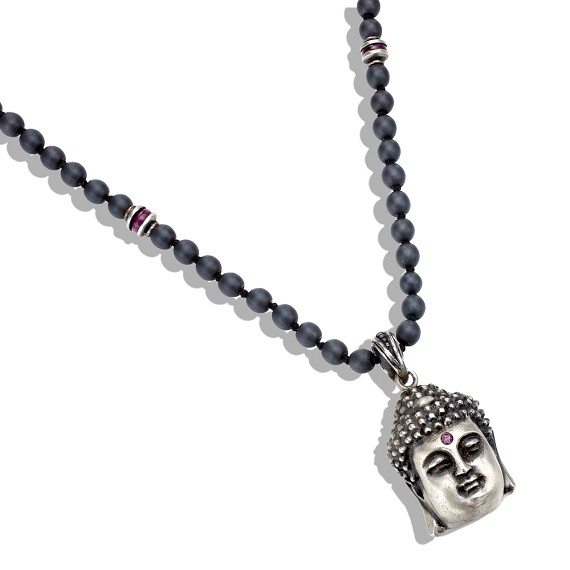 Ruby Studded Buddha Head on Hematite & Ruby Necklace
