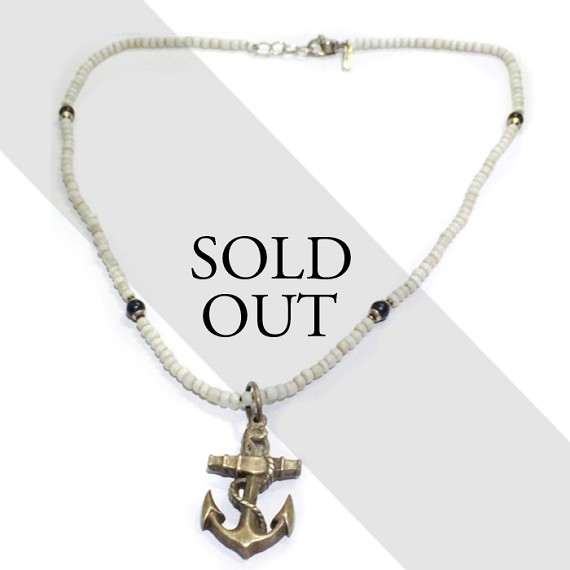Silver anchor pendant on silver onyx shell bead necklace aloadofball Image collections