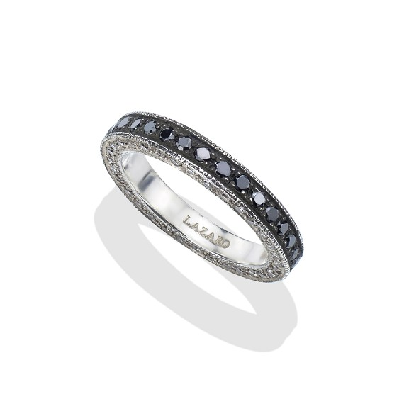Silver Black & White Diamond Men's Eternity Band