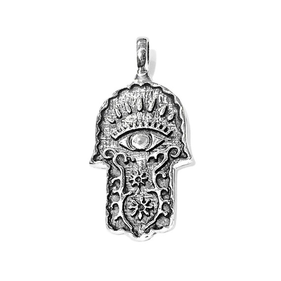 Silver hand of god with eye pendant aloadofball Image collections