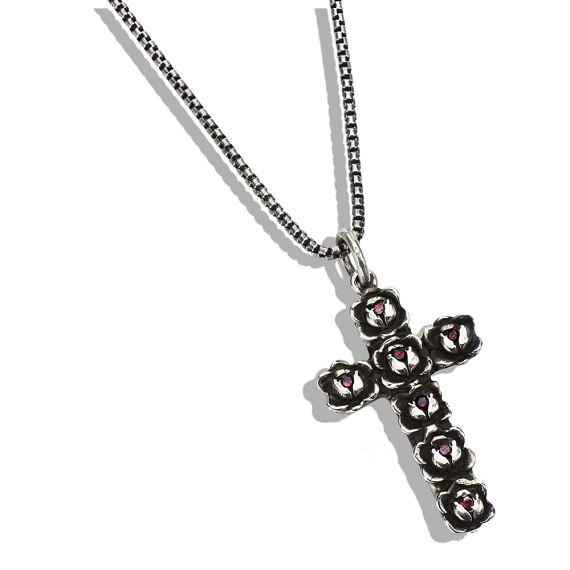 Silver & Ruby Rose Cross on Box Chain