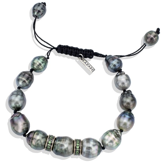 Tzavorite & Silver South Sea Pearl Bracelet