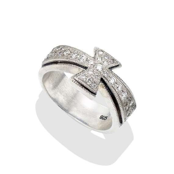 White Diamond & Silver Maltese Iron Cross Ring