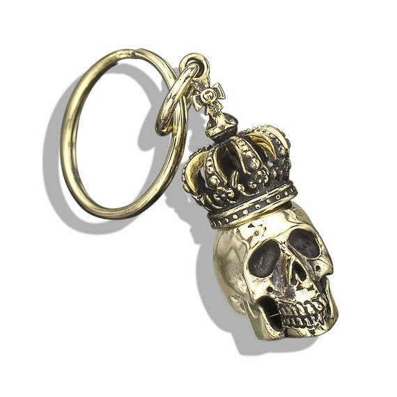 Yellow Bronze King Skull Keychain