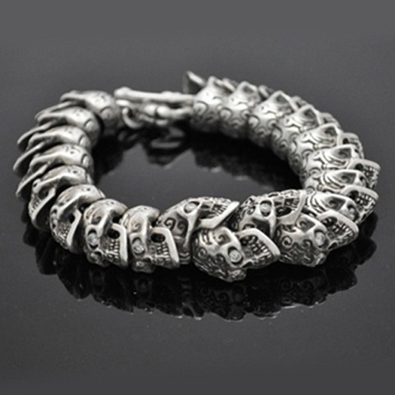 Toggle & White Diamond Eyes Carved Skull Bracelet
