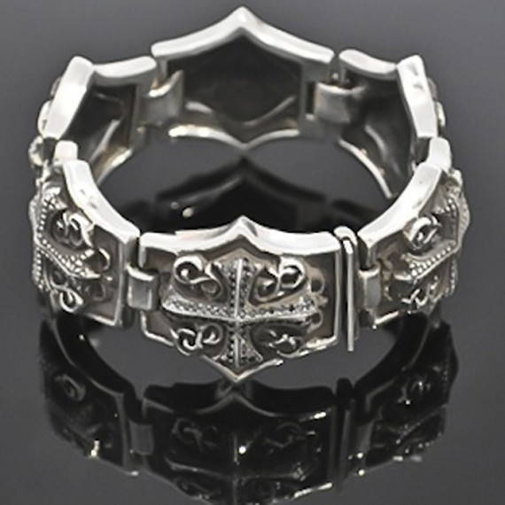 Black Diamond and Silver Gothic Cross Bracelet