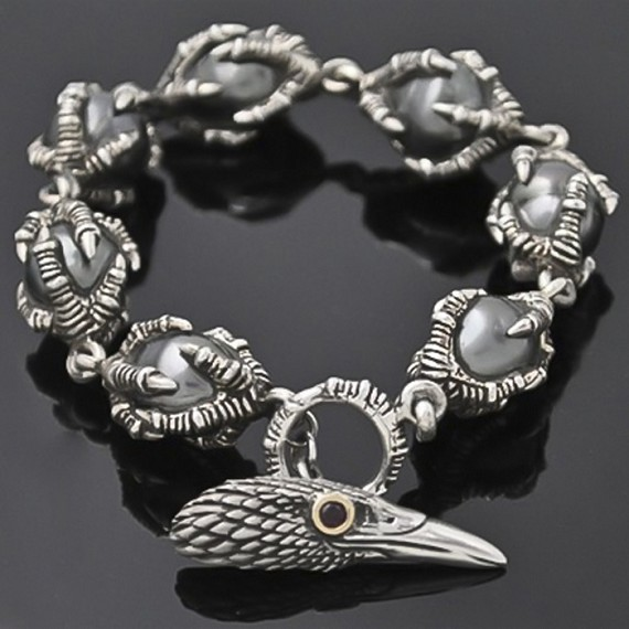 Tahitian South Sea Pearls & 18K Gold, Large Silver Raven Bracelet
