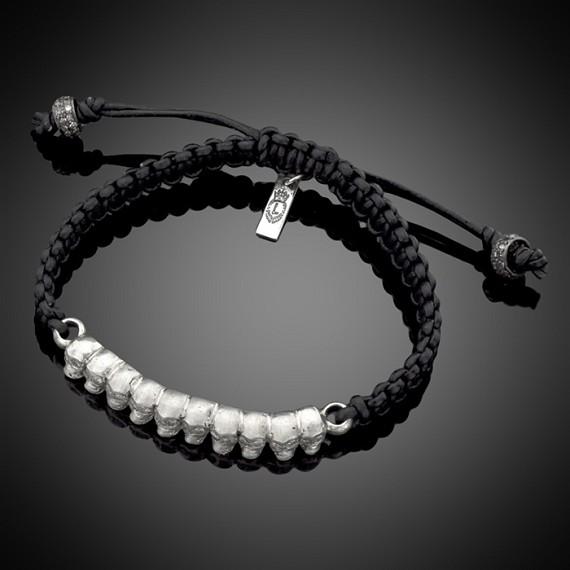 White Diamond Skull Row Men S Leather Bracelet