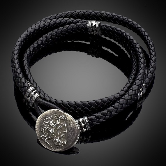 Woven Black Leather with Silver Zeus & Slides Men's Bracelet