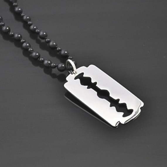 Black Onyx Razor Blade Necklace