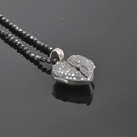 Heart Locket with Black Diamonds