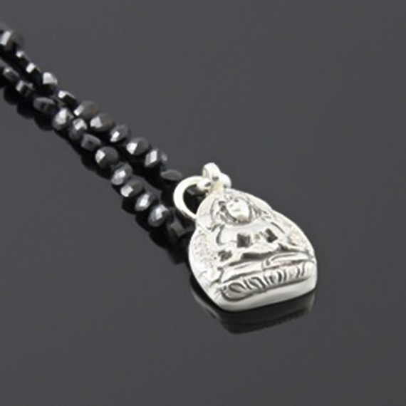 Silver Diamond & Ruby Buddha Head Charm With Spinel Necklace