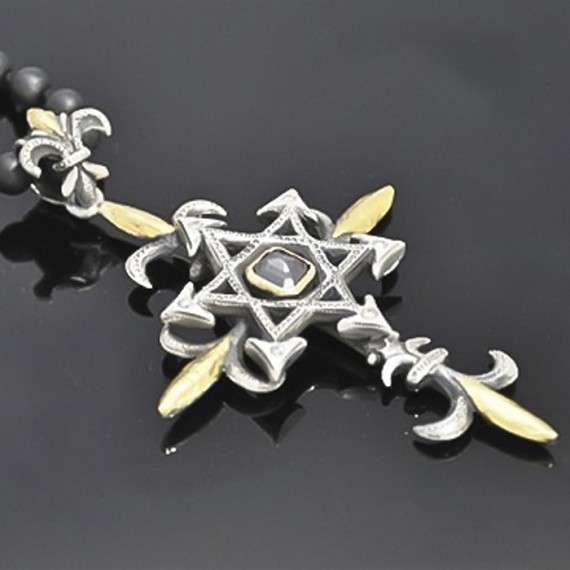 Sterling Silver, White Diamond, Black Diamond & 24K Gold Star Of David Cross Necklace