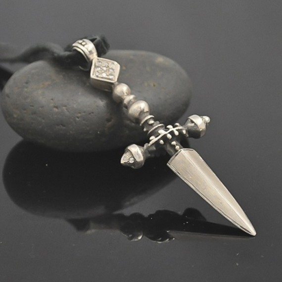 Silver& Diamond Dagger Charm Strung on Leather