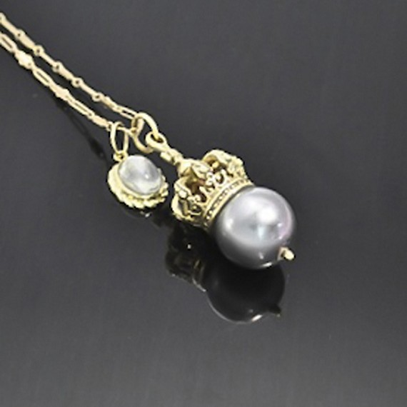 Gold Necklace with Moonstone & Tahitian South Sea Pearl