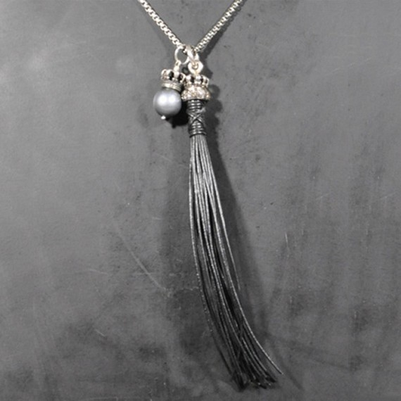 South Sea Pearl, Crown & Leather Tassle Necklace with Champagne Diamonds