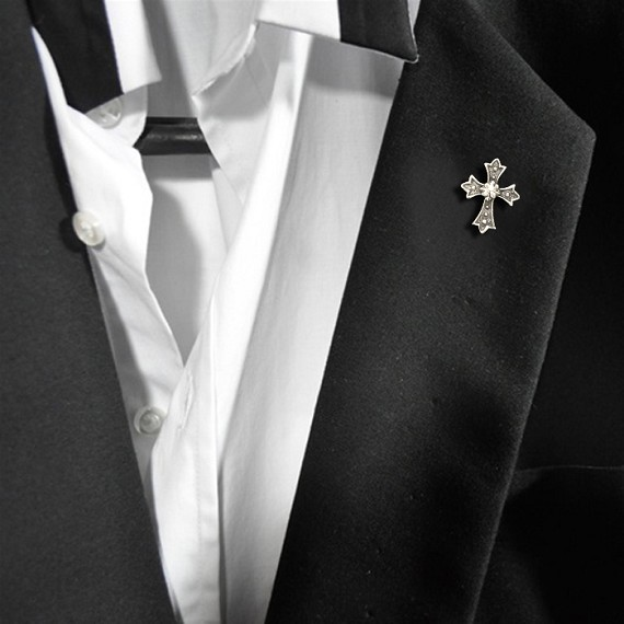 White Bronze Cross Pin