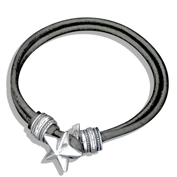 Silver Star Catch Hard Leather Bracelet