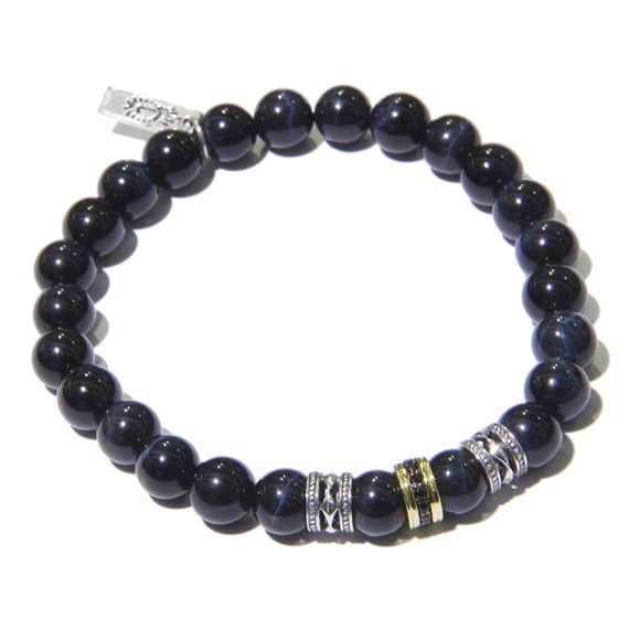 Silver, Gold, Sapphire & Blue Tiger's Eye Men's Bracelet
