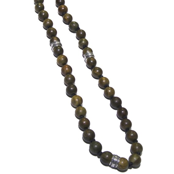 Silver & Wood Bead Deerskin Leather Men's Necklace