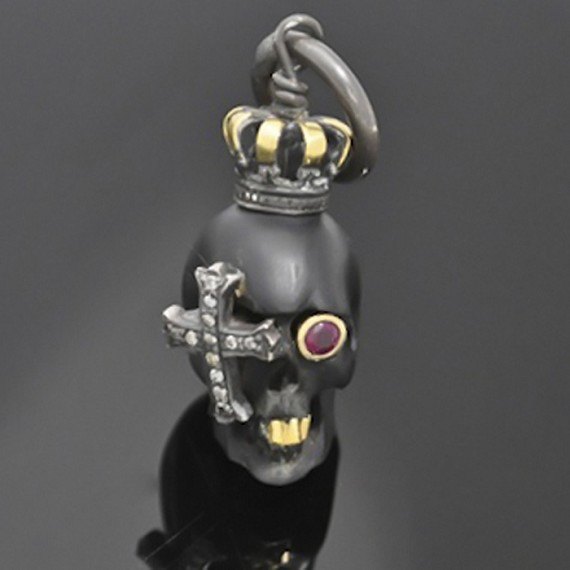 Black Jet Pirate King Skull Charm with 24K Gold, Ruby & Grey Diamonds