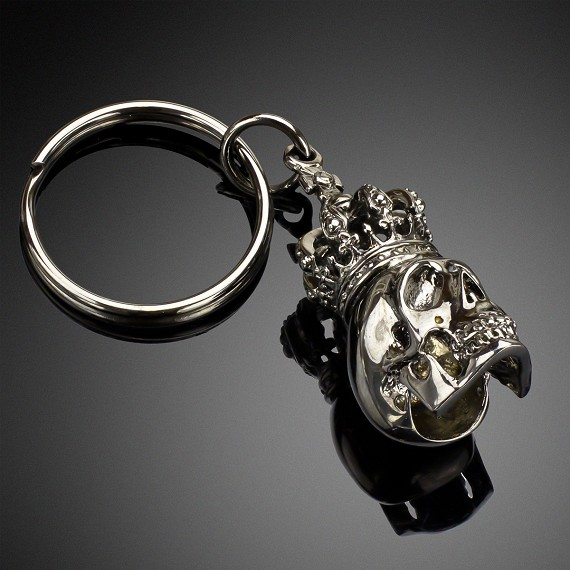 Brass Skull & Crown with Rhodium Overlay Keychain