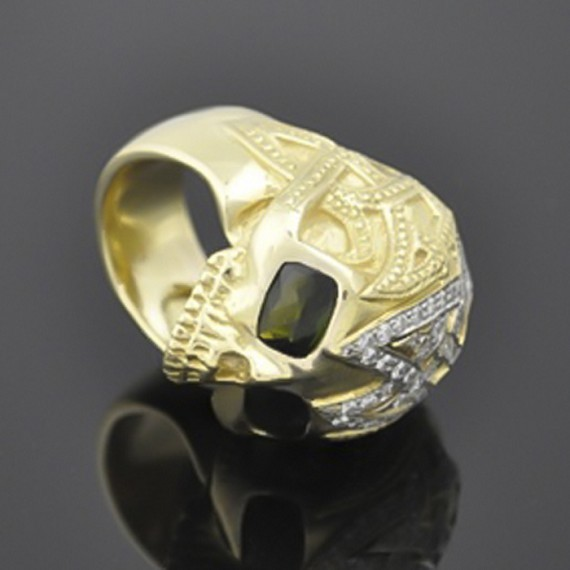 Gold & Green Tourmaline Celtic Skull Ring